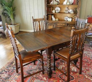 Antique English Barley Twist Table Game Kitchen Dining Draw Leaf