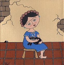 Art: Frida ~ a quiet moment by Artist S. Olga Linville