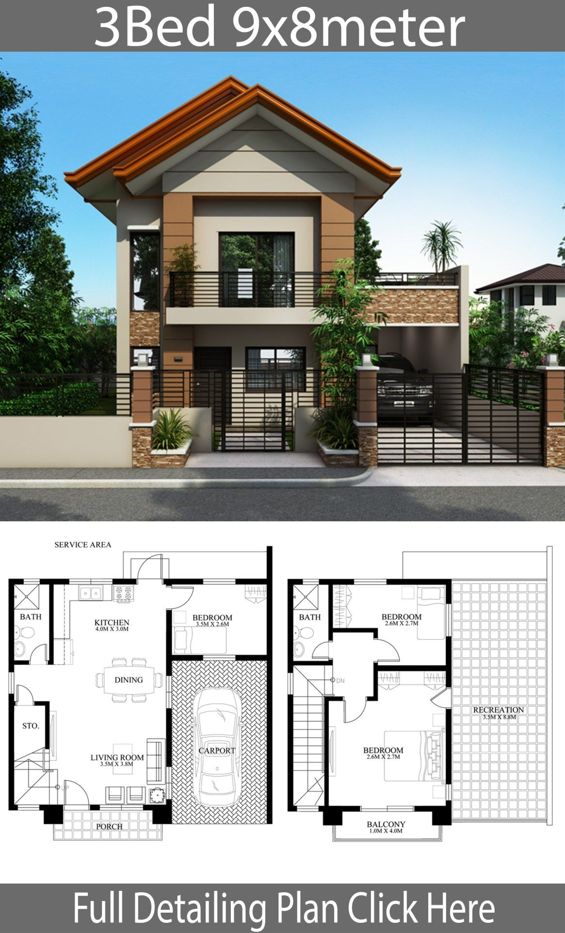 Home design plan 9x8m with 3 bedrooms | Simple house design