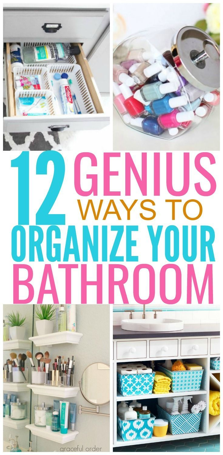 Bathrooms can become easily decluttered and unorganized. There are brilliant ways to organize your bathroom and create extra storage. Here are 12 great ideas to look like a professional organizer.