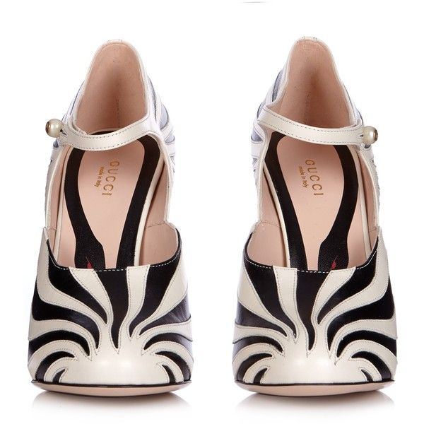 4f7c3b107 Gucci Lesley zebra-appliqué leather pumps ($990) ❤ liked on Polyvore  featuring shoes, pumps, zebra print pumps, leather shoes, leather footwear,  gucci and ...
