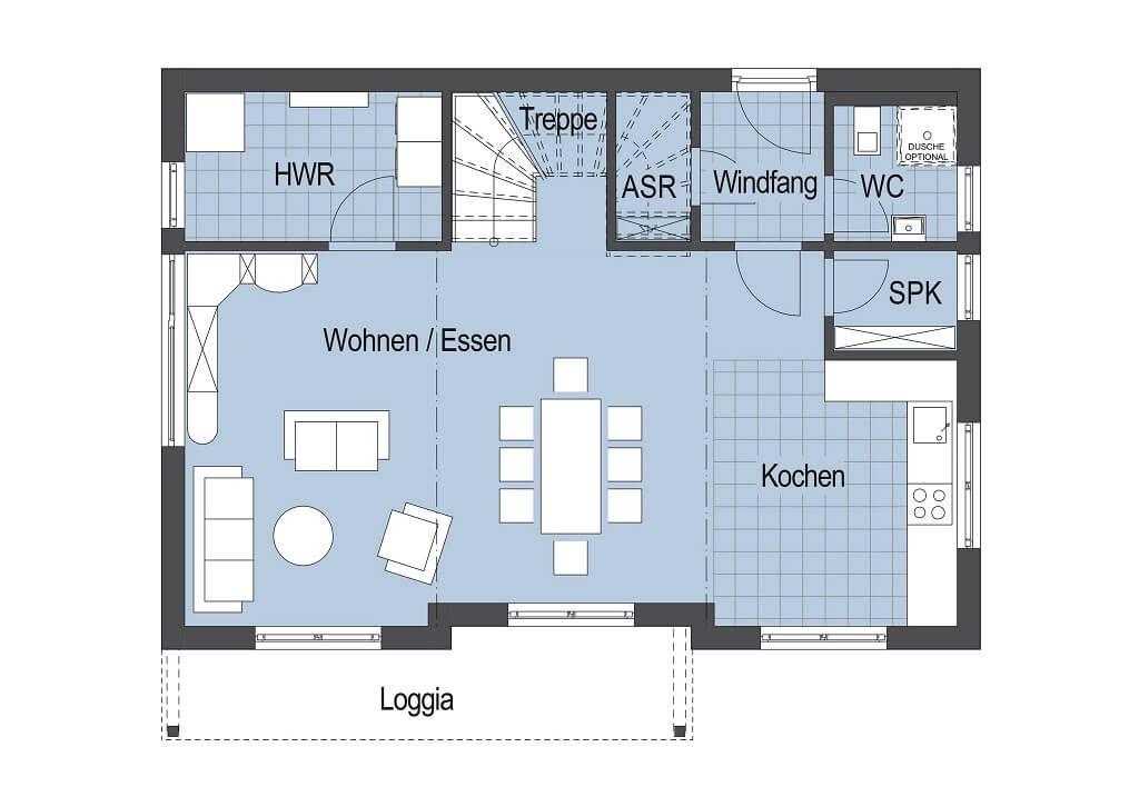 Grundriss Stadtvilla Erdgeschosss - Einfamiliemhaus Top Star S 149 - küche mit kochinsel grundriss