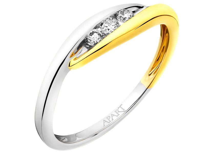 Pierścionek Z żółtego I Białego Złota Z Brylantami Wzór 105399