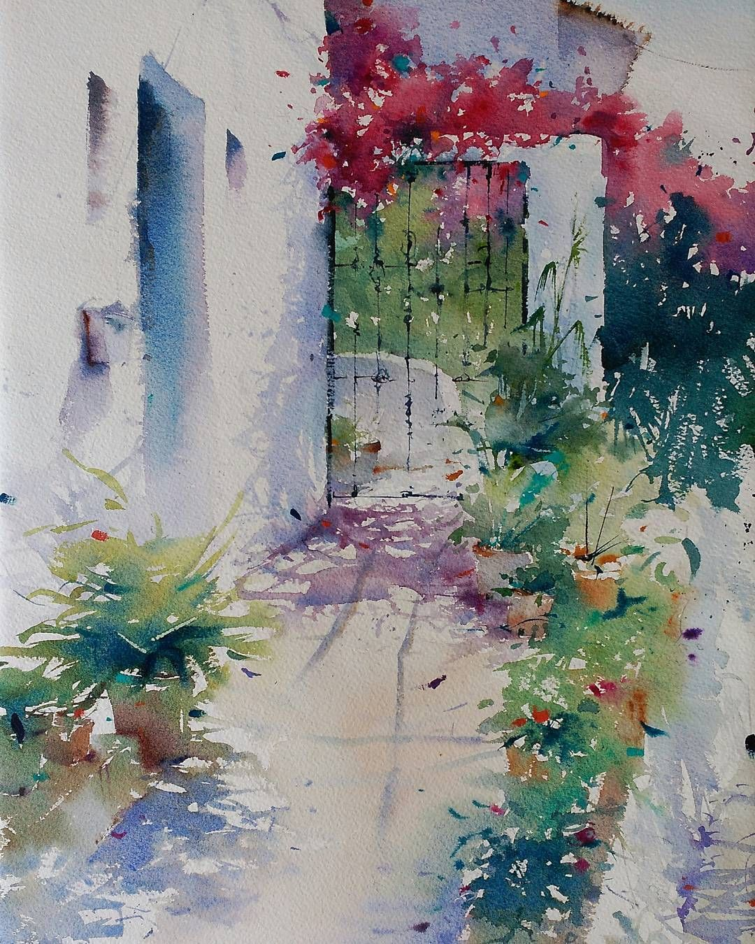 Buganvillas Acuarela S Papel 55x36 Cm Watercolor Aquarelle Art