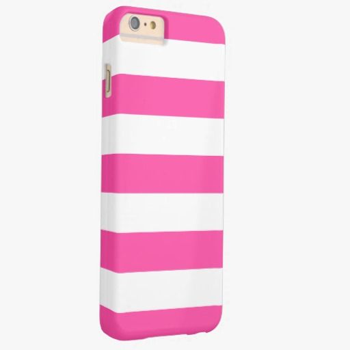 Awesome iPhone 6 Case! Hot Pink White Stripes Pattern Girly Barely There iPhone 6 Plus Case. It's a completely customizable gift for you or your friends.