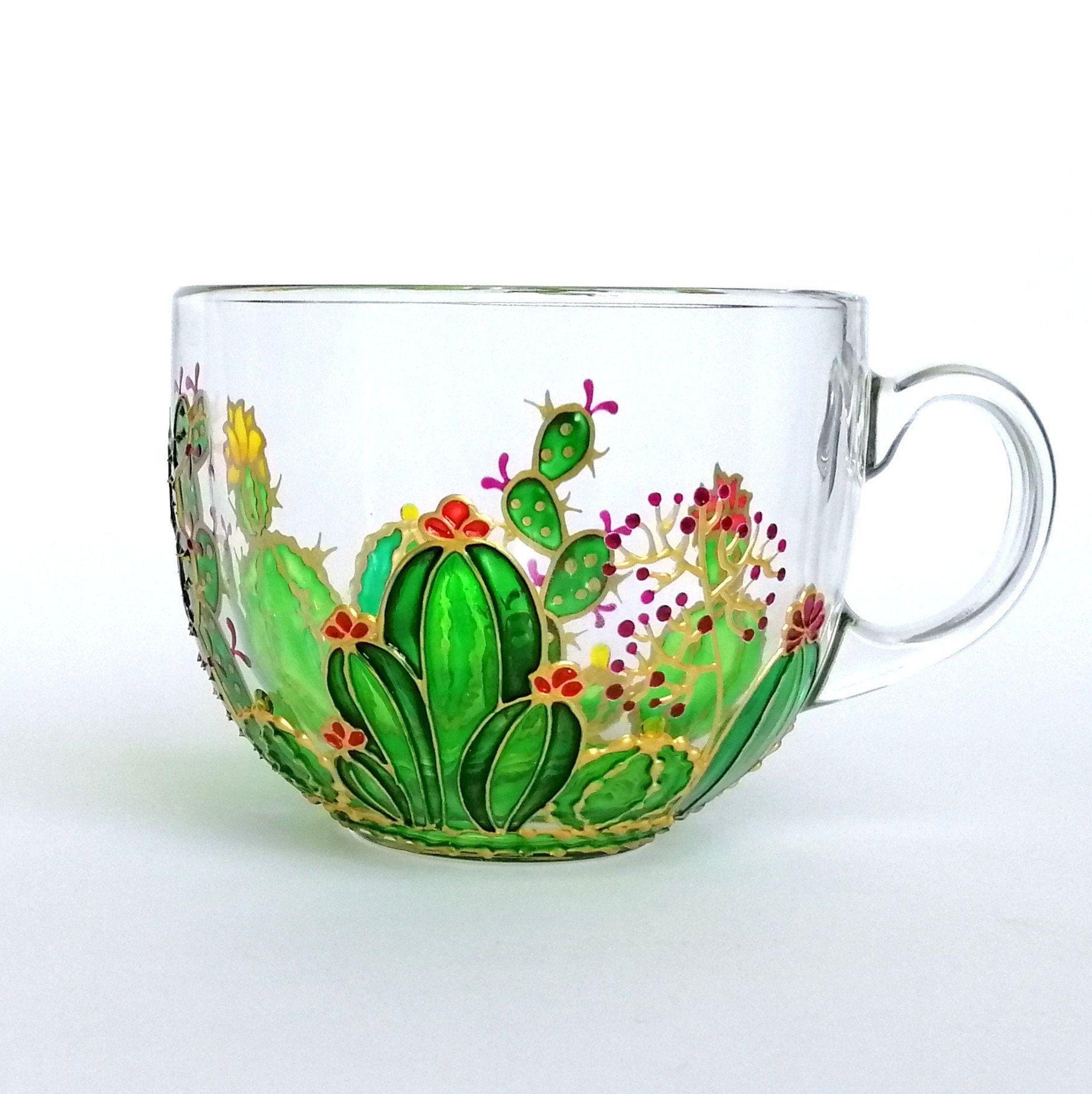 Cactus big coffee mug hand painted mug for boyfriend