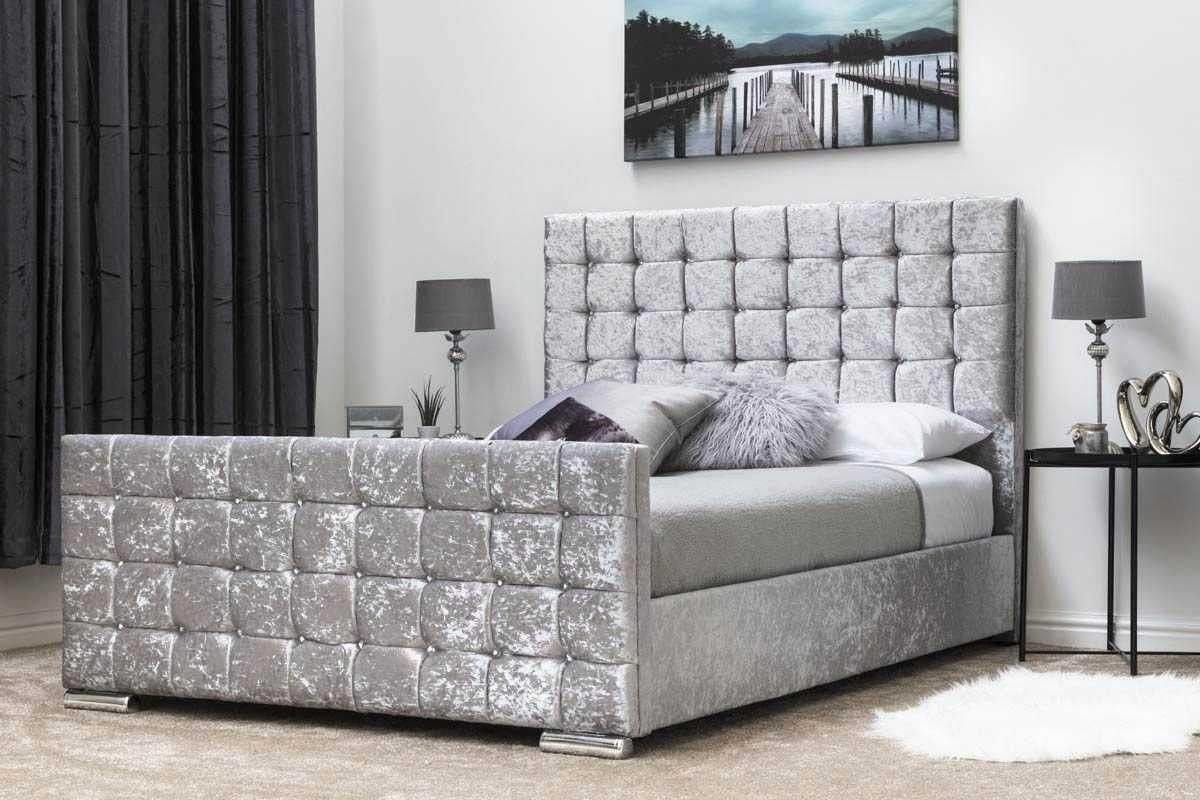 Best Dalkeith Diamante Silver Crushed Velvet Upholstered Bed 400 x 300