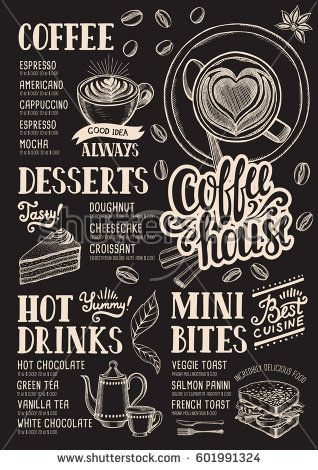 Coffee Food Menu For Restaurant And Cafe Design Template With Hand Drawn Graphic Elements