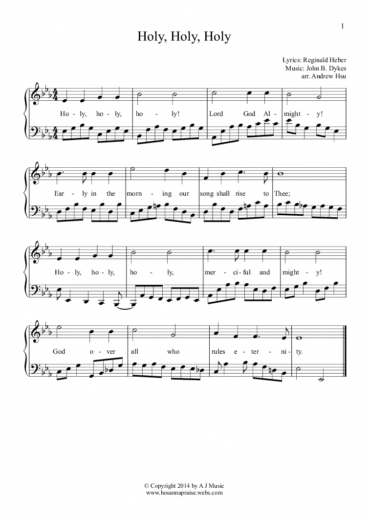 Holy, Holy, Holy Easy Piano 1 for Solo instrument (Piano