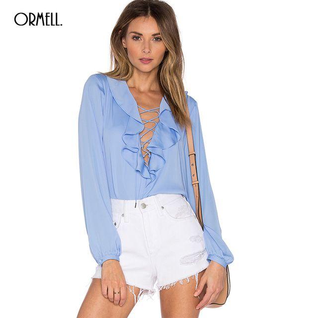 ff6fd8c76904e ORMELL Women Sexy Long Sleeve  Blouses Low Cut Drawstring Ruffled  Shirts  Blusas Femininas European Fashion Tops Plus Size  olympic