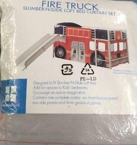 Essential Home Fire Truck Slumber N Slide Loft Bed Curtain Set New