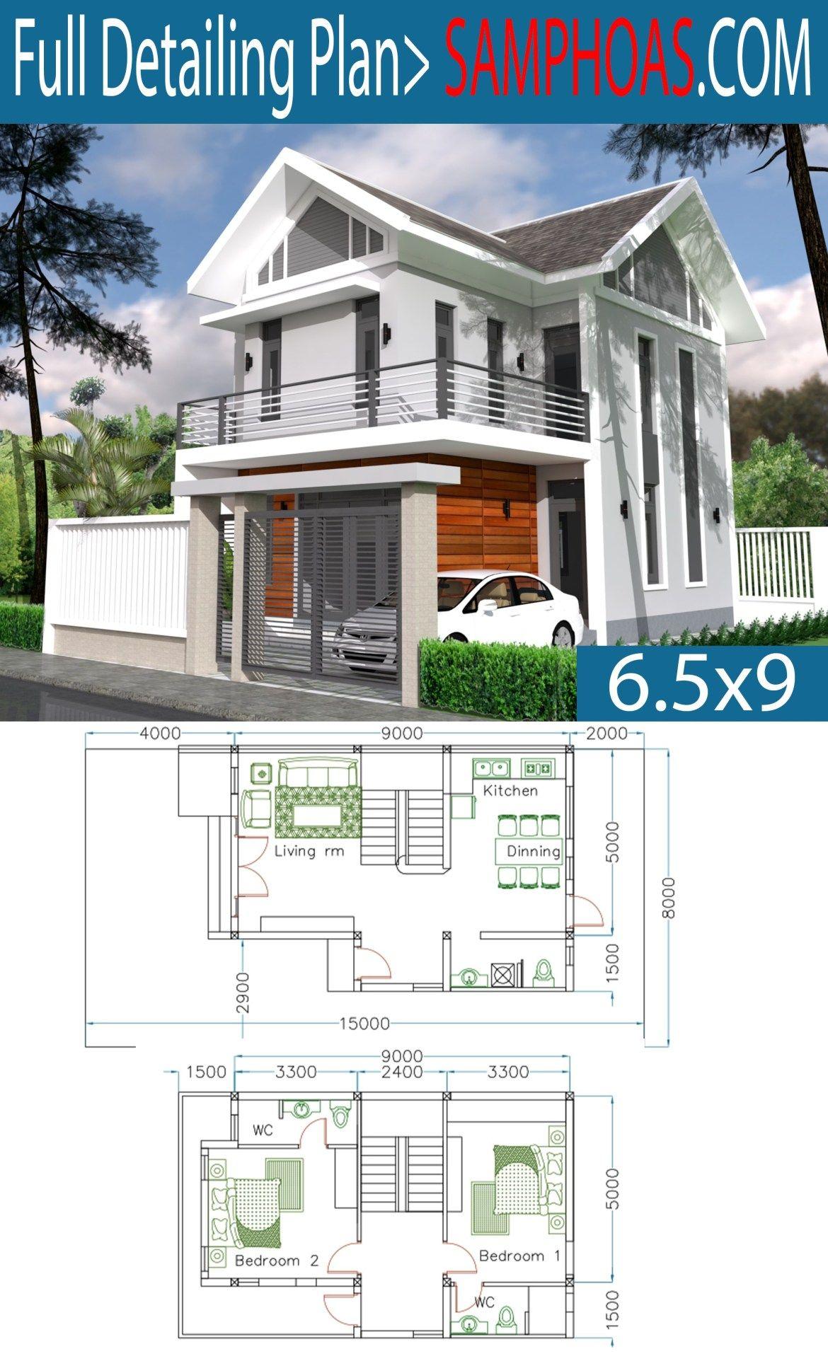 Home Design Plan 6 5x9m With 2 Bedrooms Samphoas Plansearch Home Design Plan House Design Simple House Design