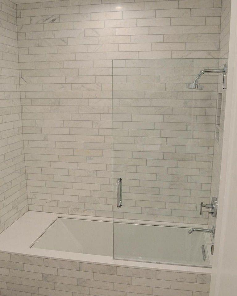 42 Pleasant Small Bathroom Shower With Tub Tile Design Ideas  #smallbathroomdesigns #bathroomshowerideas #bathroomideas