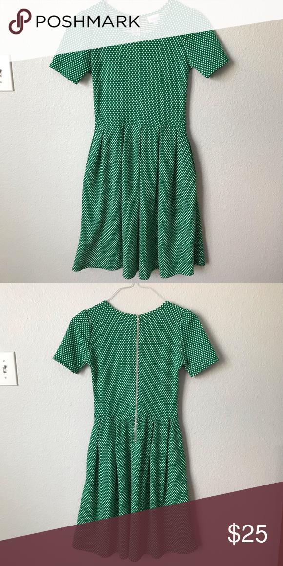 f04f9000429d LuLaRoe Amelia Dress XS Green with white dots. Back zip-up closure. HAS  POCKETS!! LuLaRoe Dresses Midi