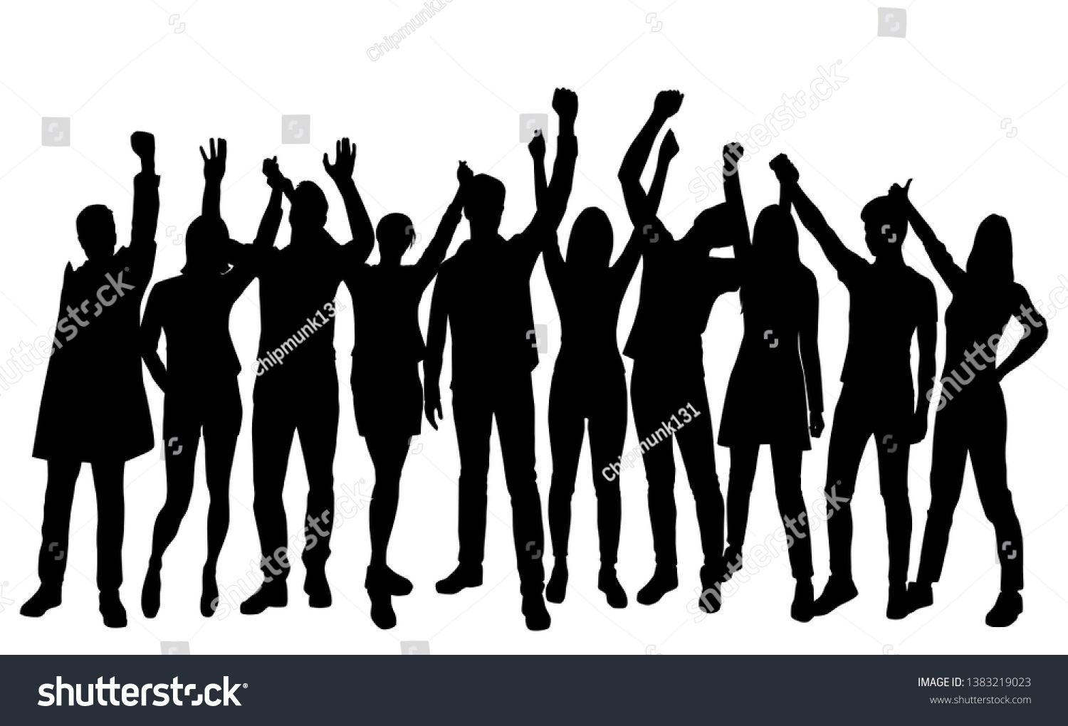 Set Silhouettes Man And Woman Standing With Hands Up Group Of