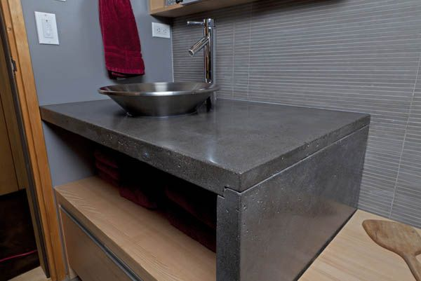 Check out this beautiful concrete counter! In love. Natural Concrete Bathroom Vanity