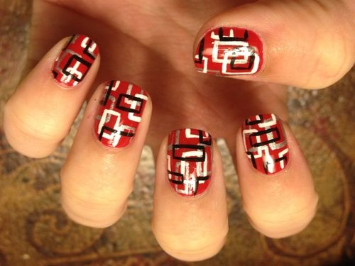 Red, black and white box nails.