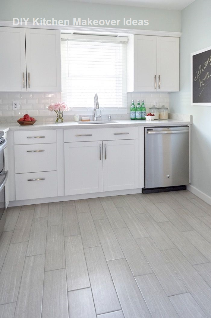 Diy Ideas To Remodel And Makeover Your Kitchen Diykitchen Kitchenmakeover Grey Kitchen Floor Kitchen Tiles Kitchen