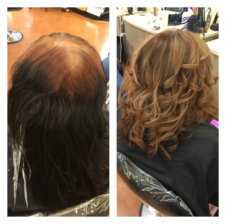 Color correction box black with who knows what at her roots to an amazing brown with blonde