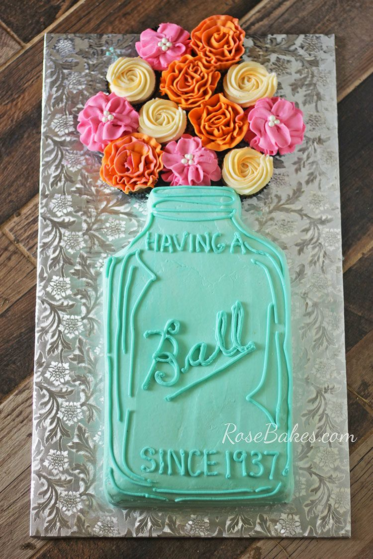 Having A Ball Mason Jar Cake With Flowers With Images Mason