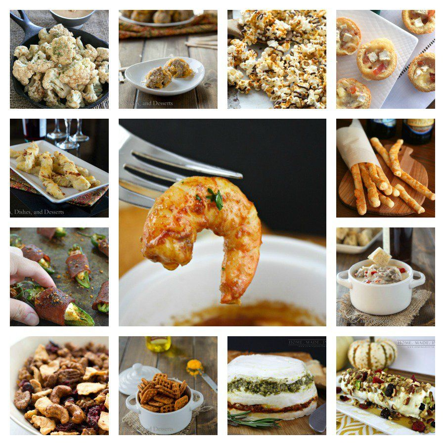 42 New Year's Eve Party Appetizer recipes:   Shrimp, Cheese Straws, popcorn, this collection has it all!