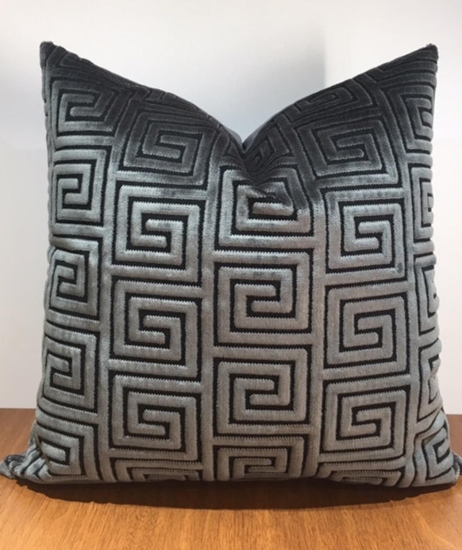 Luxury Grey Velvet Pillow Throw Pillow