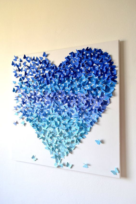 3D Blue Ombre Butterfly Heart Art