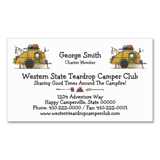 Cute RV Vintage Teardrop Camper Travel Trailer Business Card - club membership card template