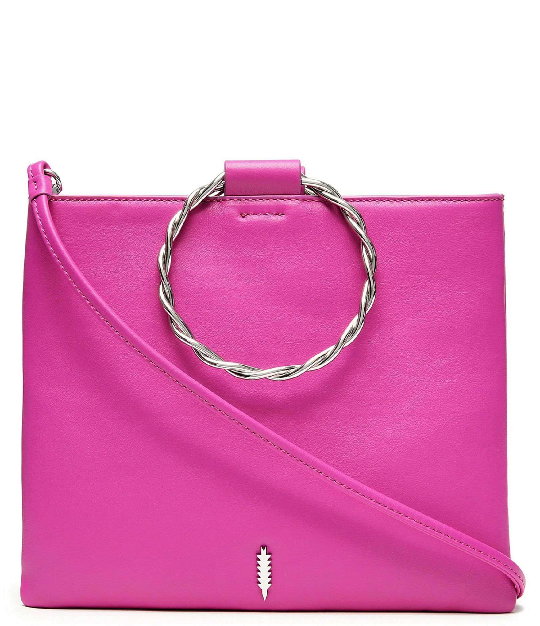 Thacker Le Pouch Twisted Ring Handle Italian Leather Crossbody Bag