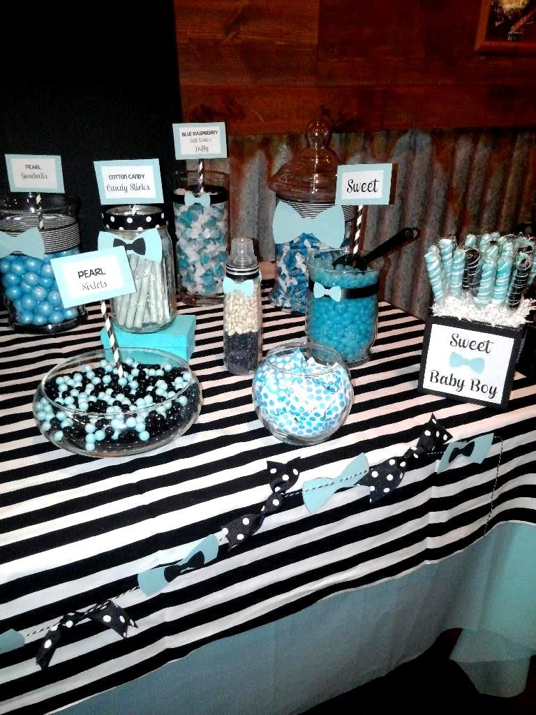 bow ties and bottles themed candy buffet tiffany blue black baby shower