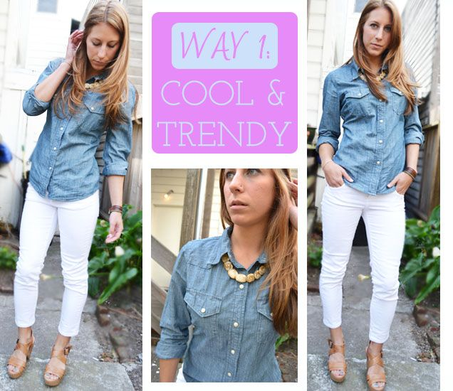 blue jean shirt and white capris | Ways To: Wear White Cropped ...