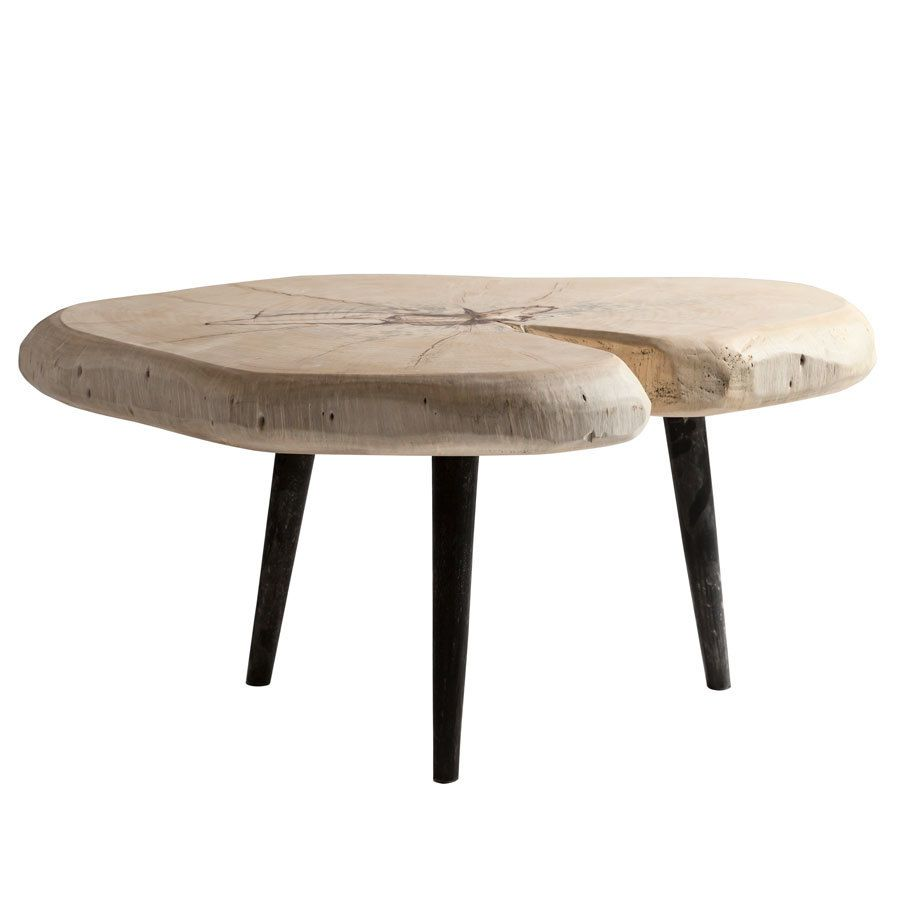 37 X 28 Inch Tamarind Wood Rounded Live Edge Coffee Table With