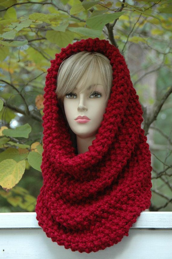 Cranberry Red Knit Infinity Scarf Cowl Hood, Oversized Cowl, Chunky ...