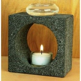 """Natural Lava Stone with hand-blown glass bowl. Includes Palm Wax Tea Light & holder. 5"""" tall.  From Aloha Bay  #greenmarketcom"""