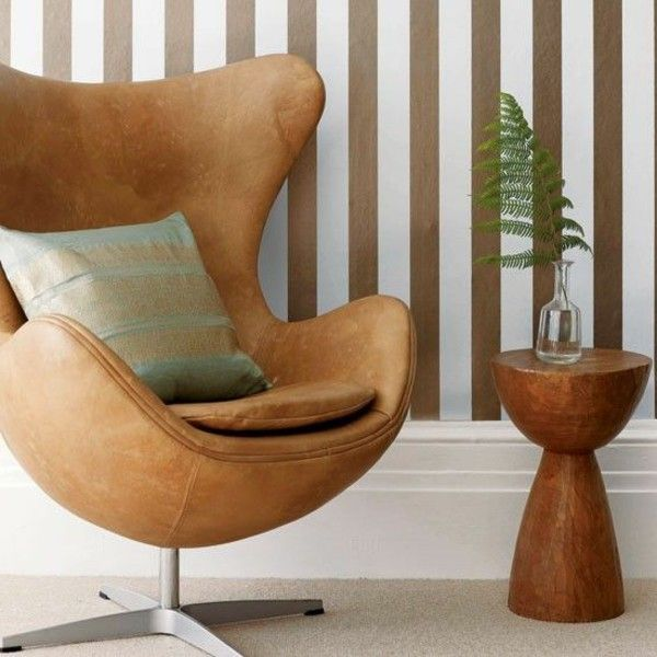 Leather Chair Egg Chair Design Light Brown Cushion Side Table