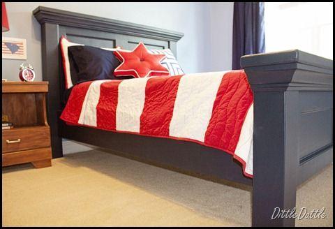 Diy pottery barn inspired bed headboard footboard for Disenar mi casa