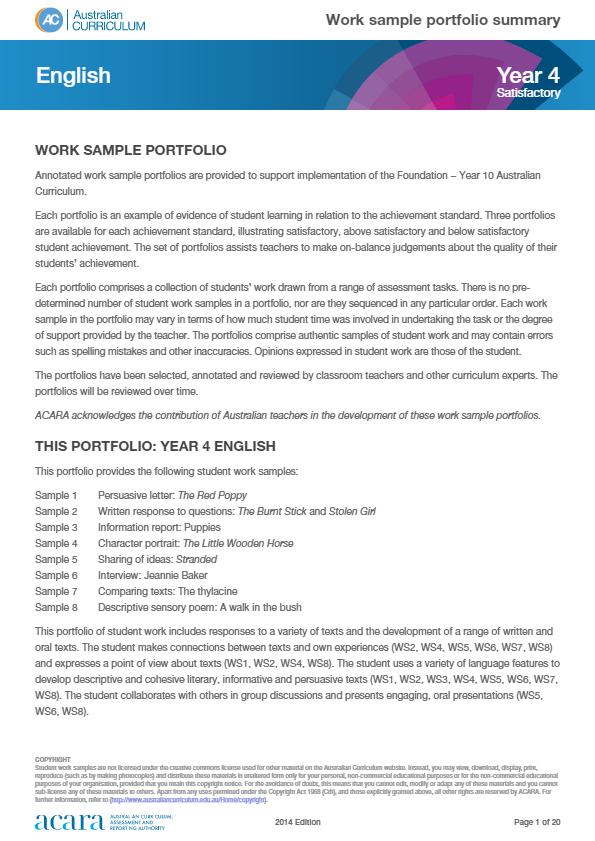 year 4 english work sample portfolio satisfactory