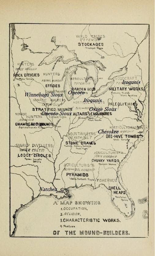 The Adena, Hopewell Mound Builders: Map of Historic Tribes of the ...