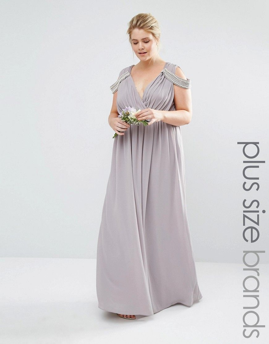 b20b1523c134 Image 1 of Tfnc Plus Wedding Cold Shoulder Wrap Front Maxi Dress