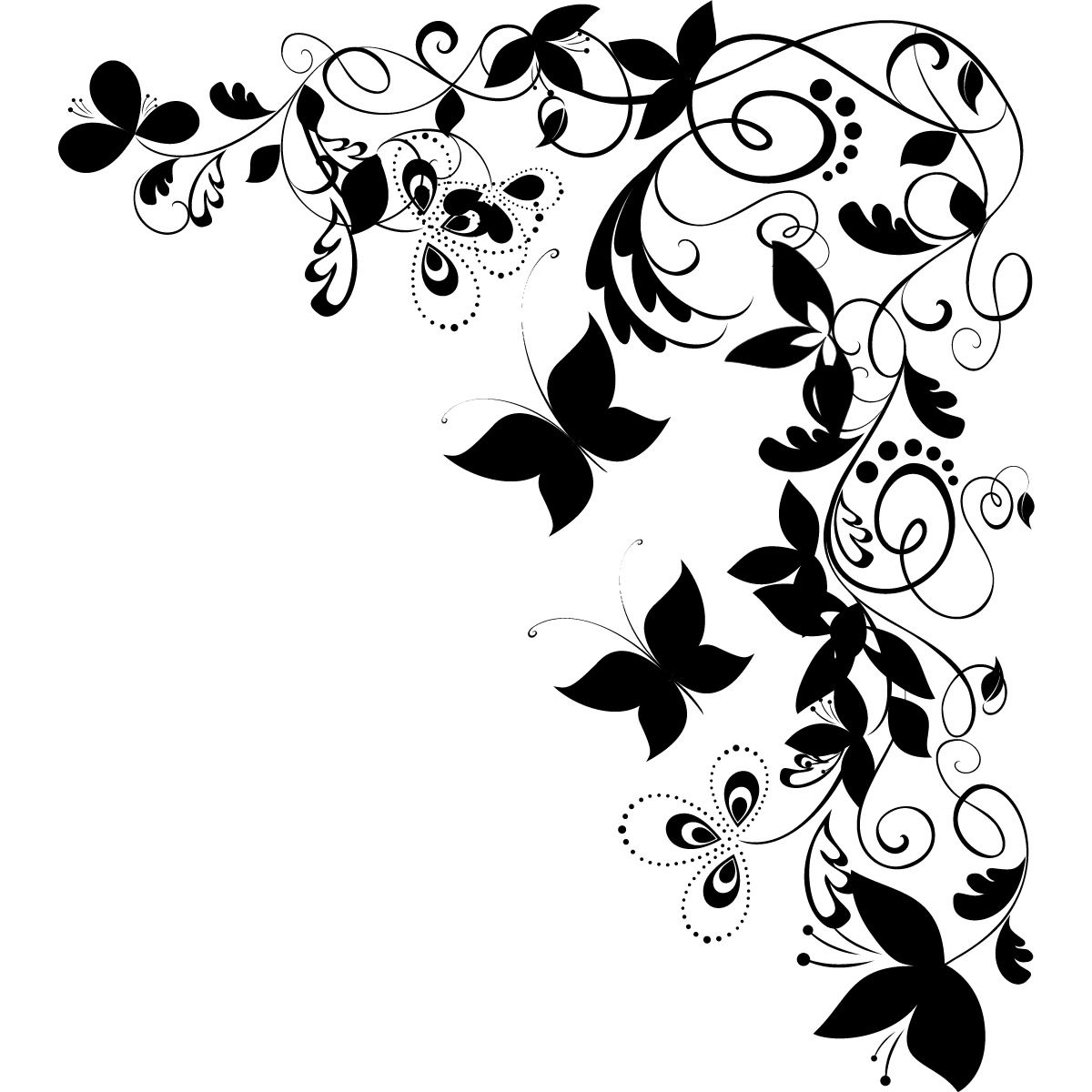 Details about Butterfly Floral Decorative Corner Wall Art