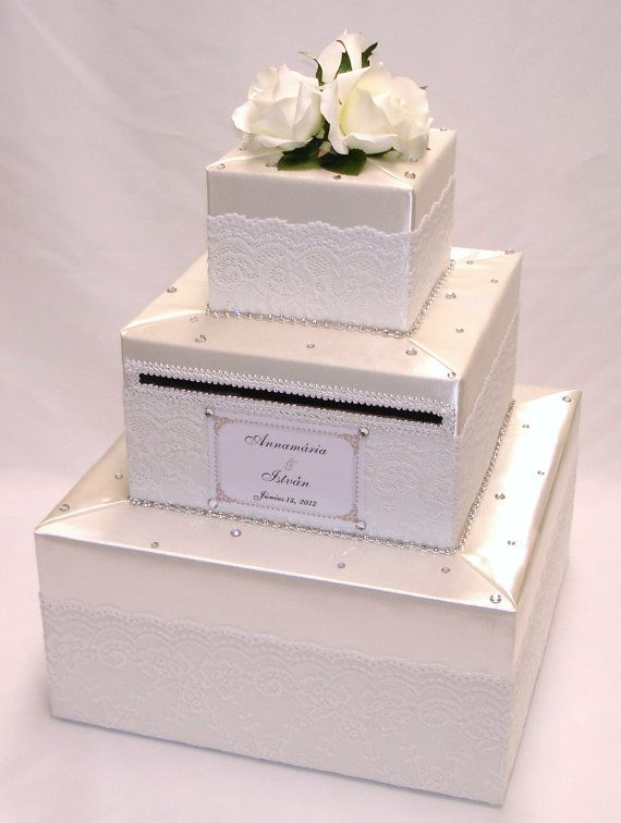 How To Decorate A Card Box For A Wedding Elegant Wedding Card Box Ivorywhite Laceexoticweddingboxes