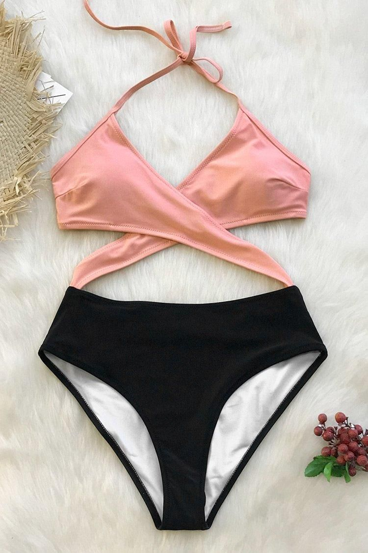e2fe51adbcb1b0 Pink And Black Wrap One-Piece Swimsuit in 2019 | CupShe 2019 | One ...