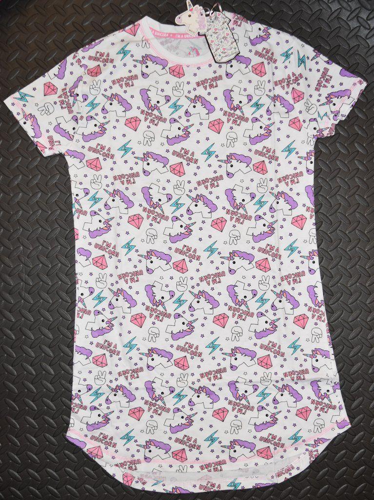 Unicorn PRIMARK NIGHTIE T Shirt I/'m A Unicorn Emoji PJ Sizes 4-20 NEW