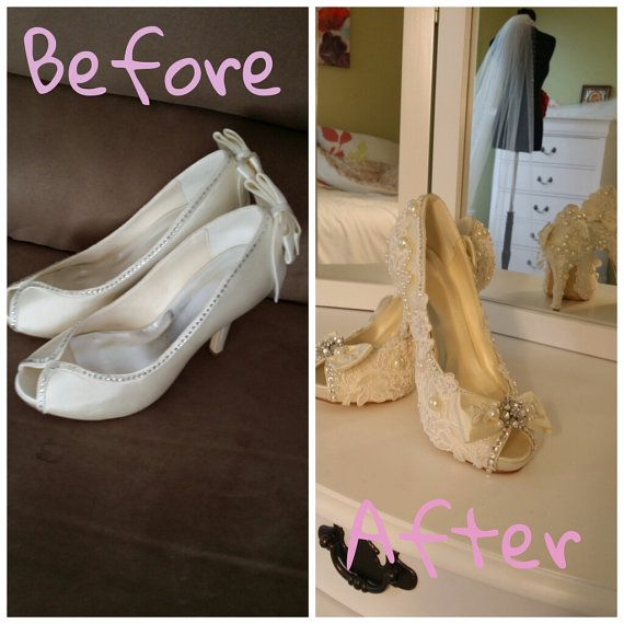 GORGEOUS  wedding shoes  with lace by AnkaUniqueBoutique on Etsy