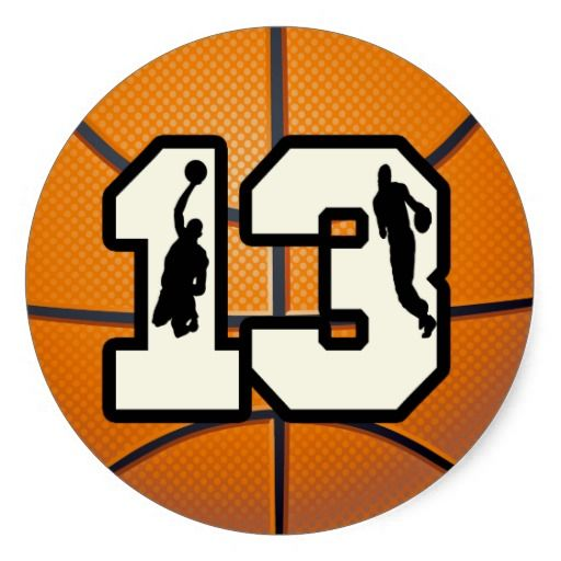 number 13 basketball and players classic round sticker 13th