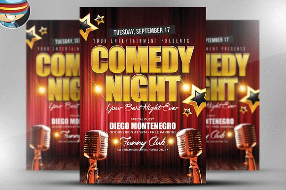 Comedy Night Flyer Template By Flyerheroes On Creativemarket