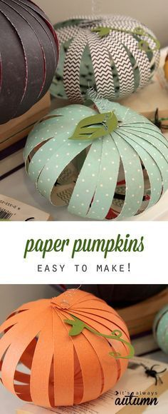 easy patterned paper pumpkins {kids can do it Paper strips, Craft - how to make homemade halloween decorations for kids