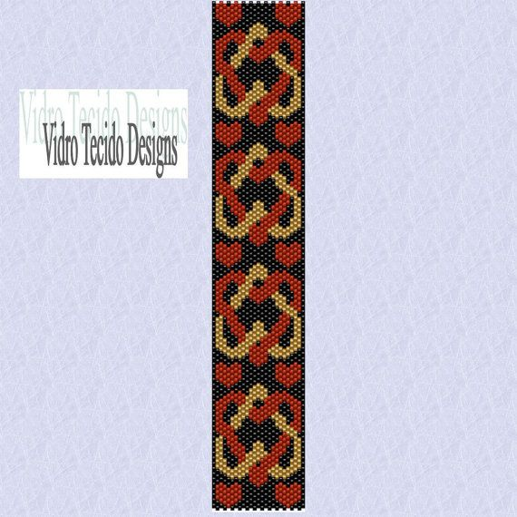 Interlocking Hearts Peyote Stitch Bracelet Pattern By Vidrotecido 2 00 Perlenmuster Peyote Armband Perlenblumen
