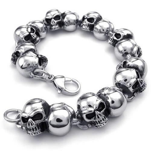 Femmes Bracelet Bracelet en Paracord Avec Acier Inoxydable Skull-Réglable-Biker-Hommes