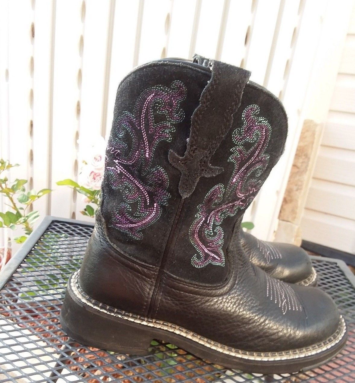 ARIAT FAT BABY Black Smooth and Suede Leather Women s Boots Size 6 B ... c5801c0cb